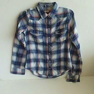 Hollister flannel shirt button front Juniors sz S